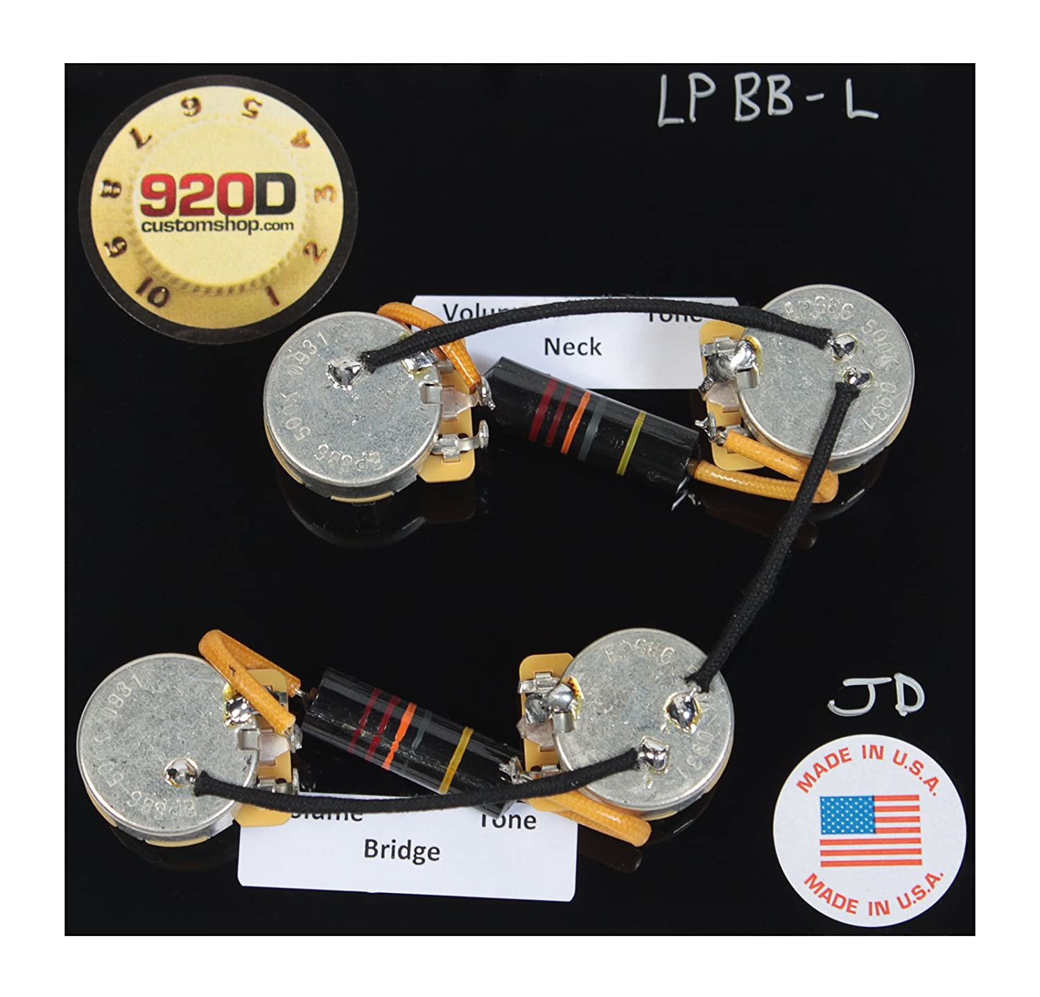 71CvVade16L._SL1500_ amazon com les paul wiring harness kit cts 500k long split shaft les paul wiring harness at bayanpartner.co