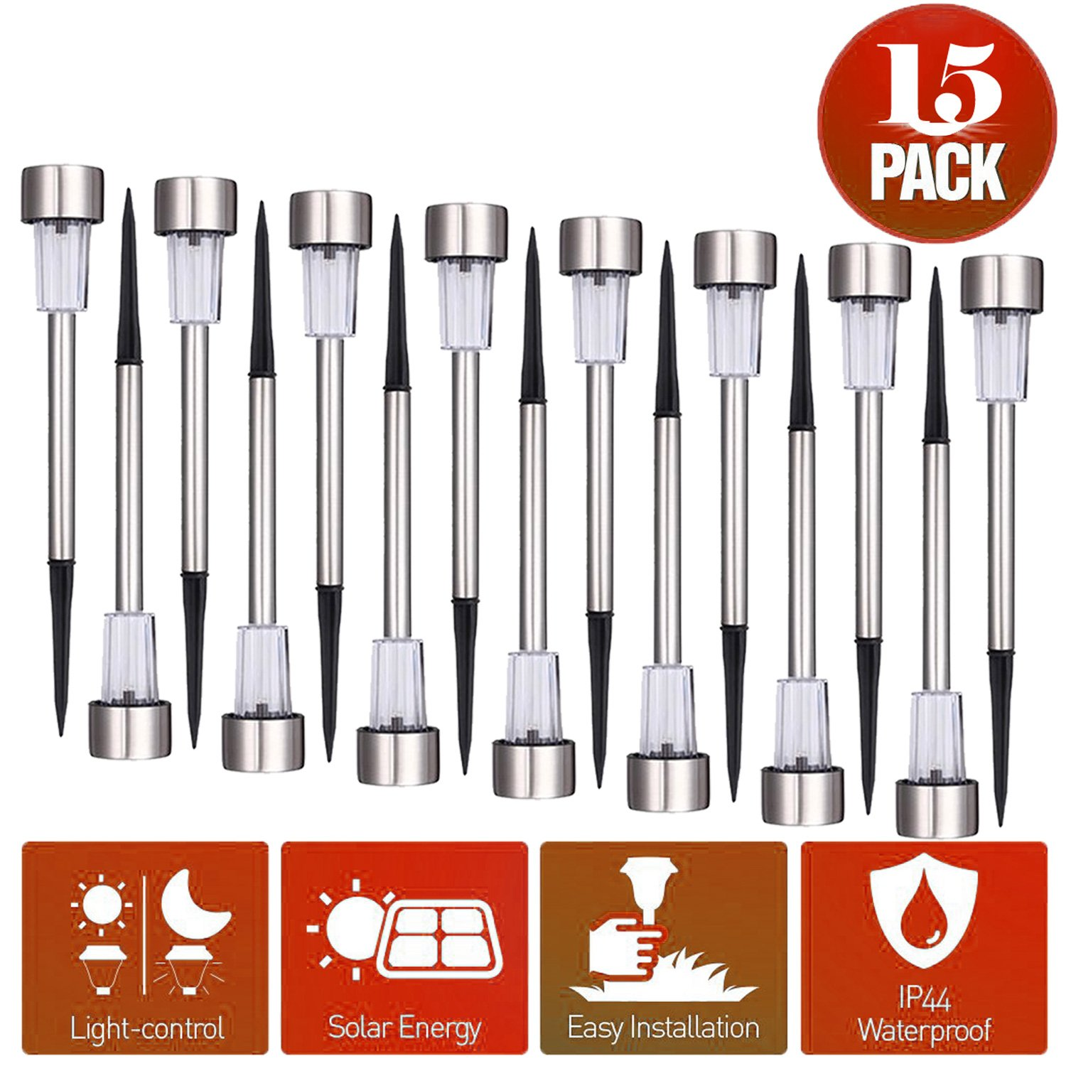Solar Lights 15pack Light Garden Outdoor Lawn Landscape Lighting for Lawn/Patio/Yard/Walkway/Driveway by Trisens