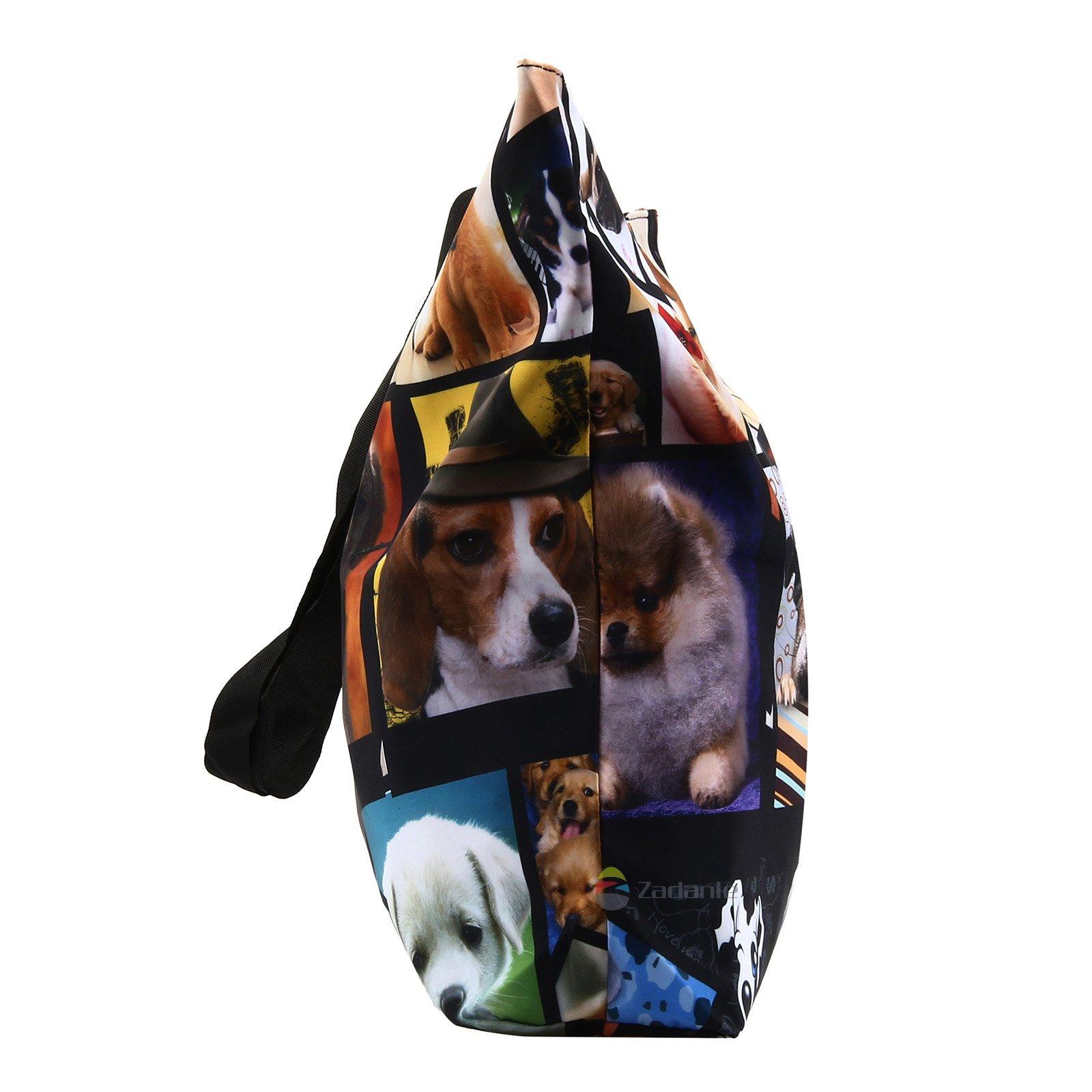 Newplenty Ladies Zippered Light Shoulder Shopping Tote Bag Handbag Beach Satchel, Many Dogs by newplenty (Image #4)
