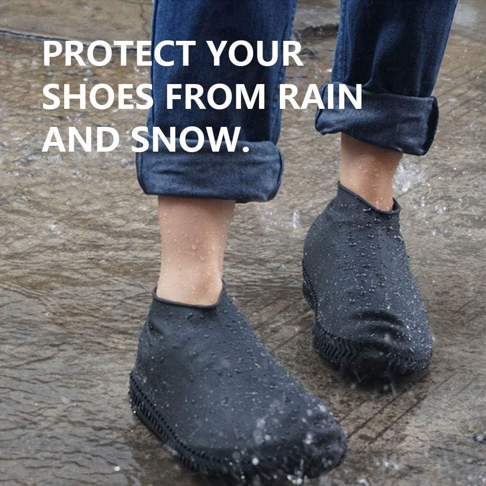 HEALLILY 1 par de zapatas impermeables reutilizables cubiertas de zapato de silicona antideslizantes calcetines de lluvia para lluvia nieve exterior azul talla 30-34
