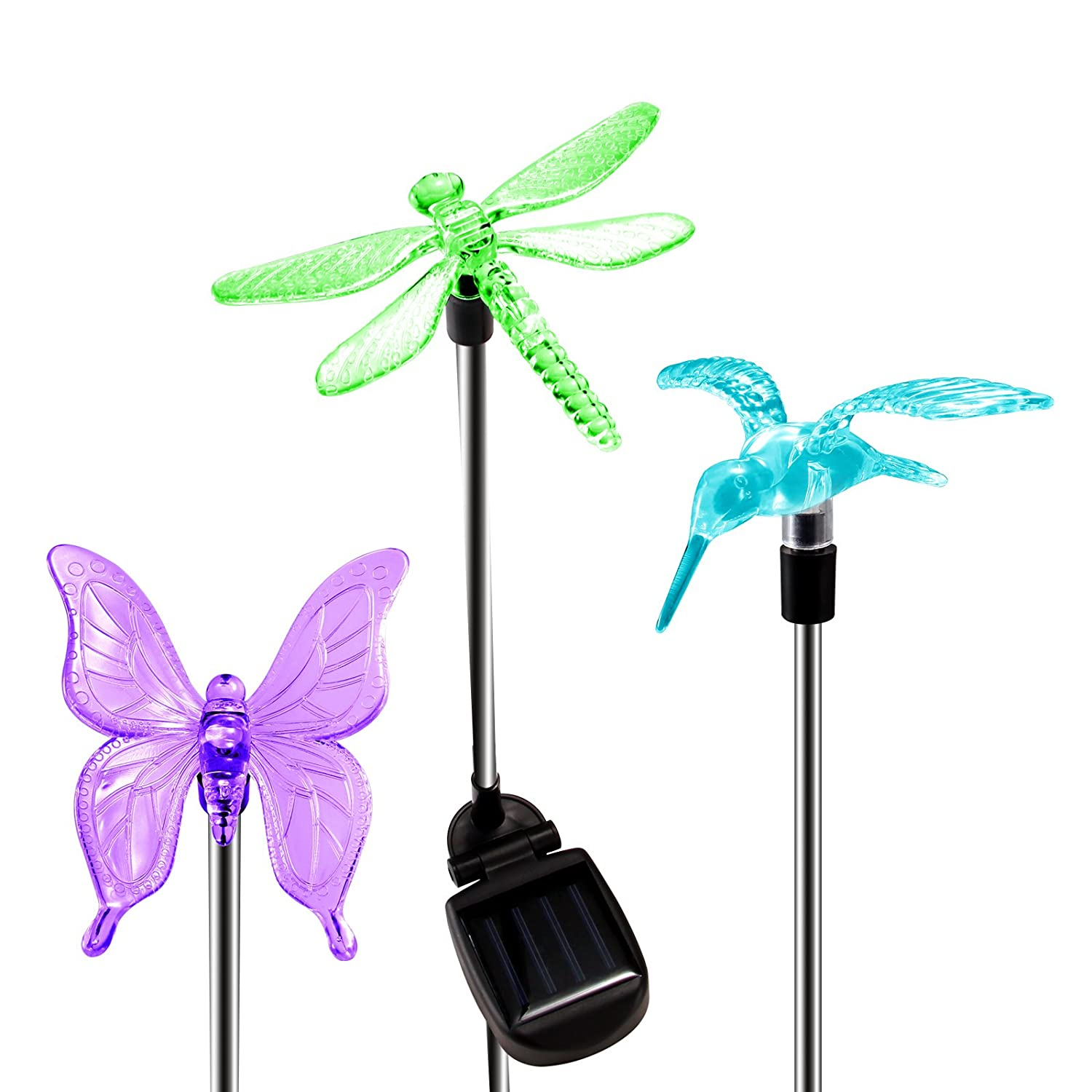 Garden Solar Lights Outdoor for Christmas, 3 OxyLED Figurine Light Stakes, Multi-Color Changing Decorative Landscape Lighting Path Light LED Hummingbird Butterfly Dragonfly for Pathway Patio Lawn Yard
