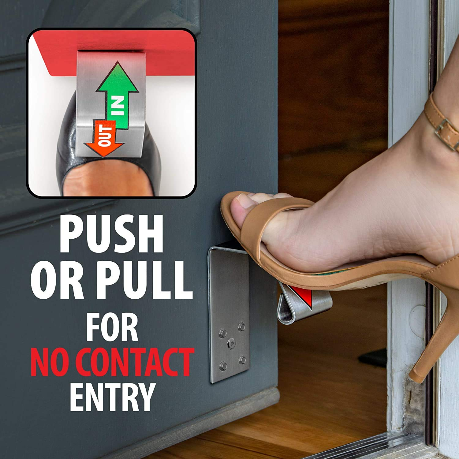 Gentle Rounded Edges are Safe and Non-Abrasive to Shoes and Feet X2 Stainless Steel Contactless Door Hardware for Hands-Free Opening and Closing of Doors No Touch Door Opener Foot Pull /& Push