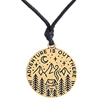 (Antique Gold) - Lemegeton Adventure Wild Survival Star Moon Pendant Mountain Necklace Gifts Jewellery for Mens