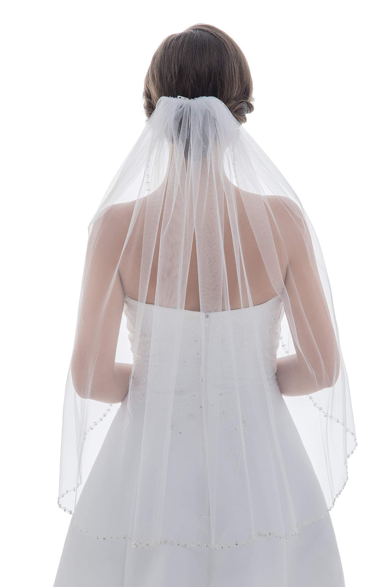 1T Rhinestone Pearl Sequin Beaded Wedding Veil (Fingertip Length 36'', Ivory)