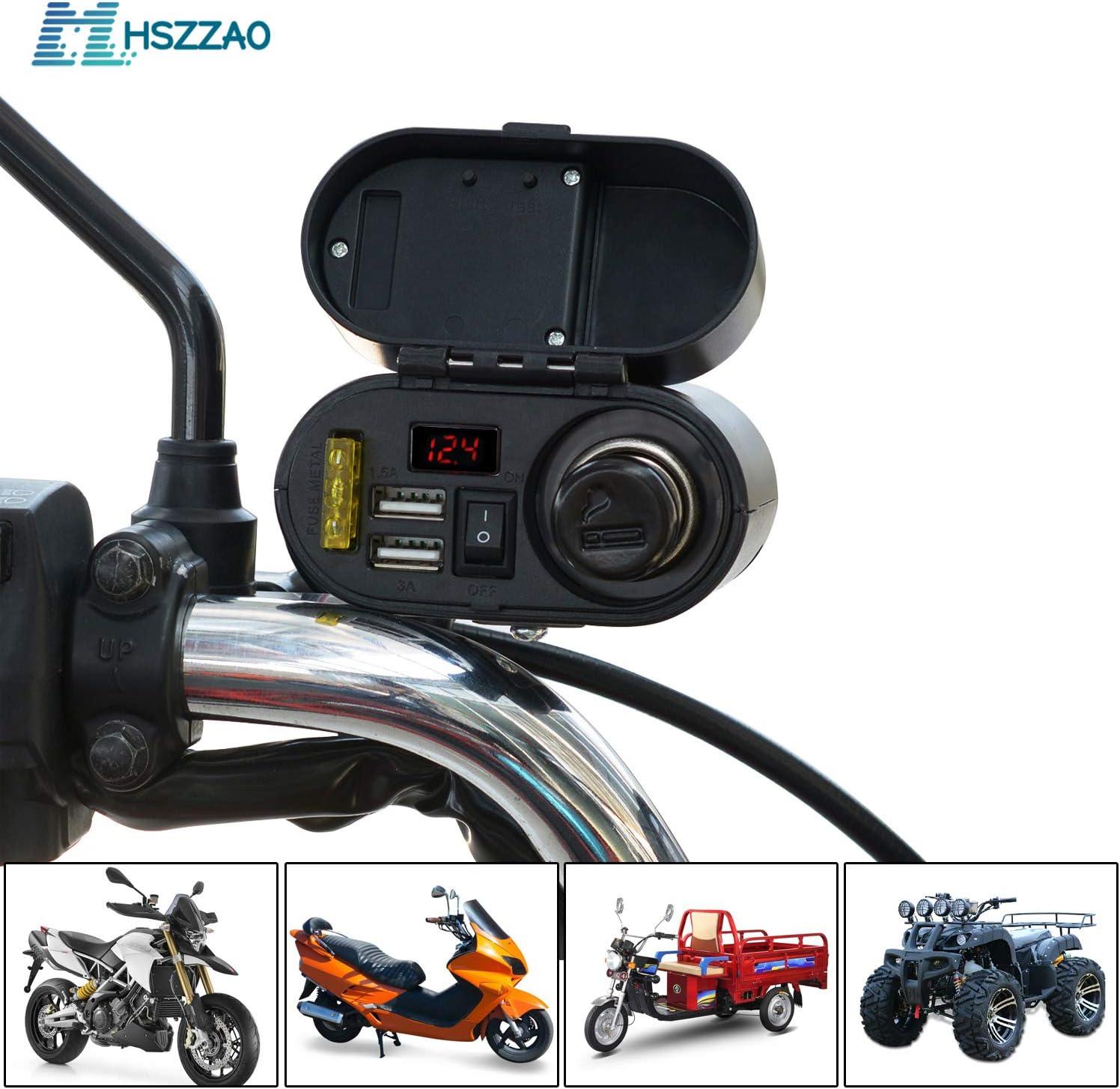 12v 24v Waterproof Handlebar Mount Motorcycle Bike Clock   USB Power Socket Silv