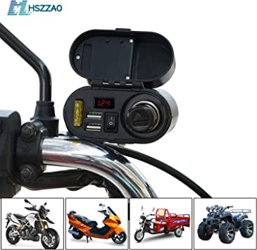 5V 3A Waterproof Motorcycle Car Cell Phone Charging Dual USB Charger Waterproof