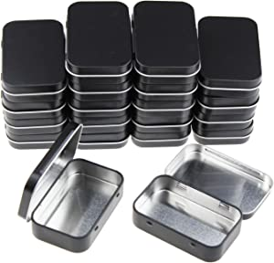 20 Pieces Rectangular Metal Empty Hinged Tins Containers Basic Necessities Home Storage Organizer Mini Box Set, 3.75 x 2.45 x 0.8 inch (Black)