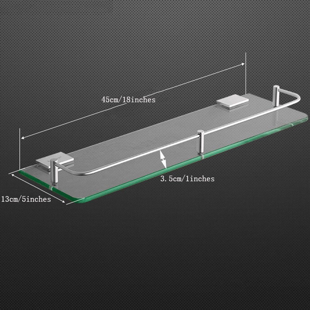 YXN Space Aluminum Bathroom Shelf Glass Shelf Bathroom Square Single Layer Metal Pendant Corner Dresser (Size : 45cm)