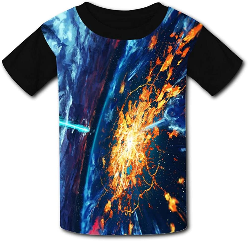 Youth 3D Printed Fantasy Blue Planet Casual T-Shirt Short Sleeve for Kids Creative Graphic Design Summer Tee