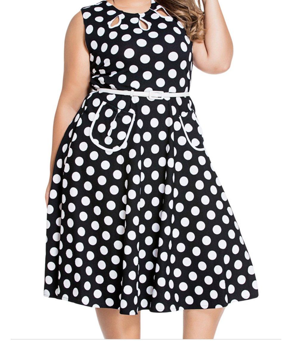 YeeATZ Polka Dot Bohemain Print Dress with Keyholes(Black,S) by YeeATZ