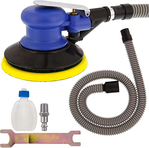 TCP Global Brand 6 Self Vacuuming D.a. Sander with Collection Hose Pad, Air Powered, 1 4 npt