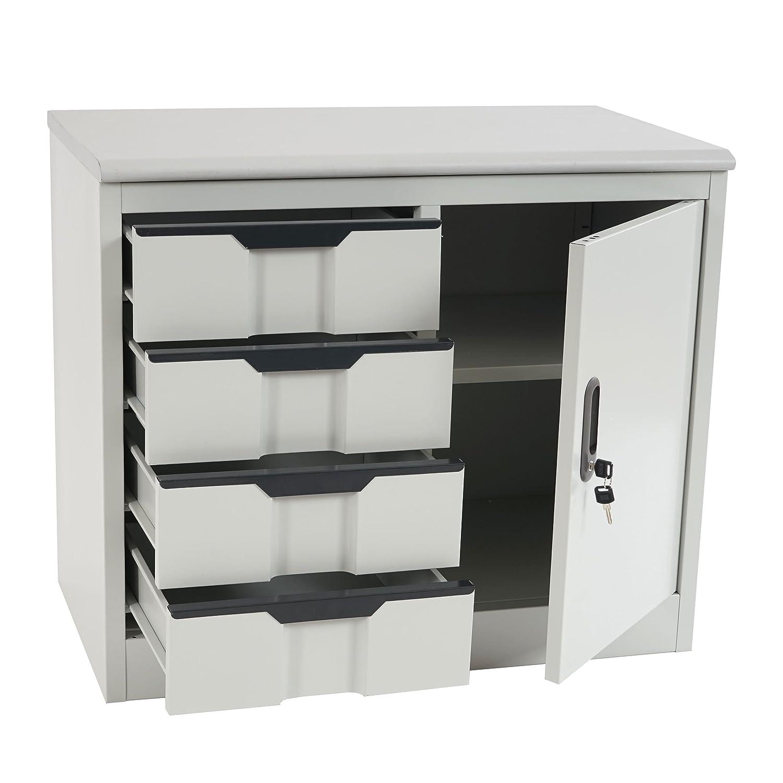 Büroschrank weiß schubladen  Aktenschrank Boston T310, Büroschrank Stahlschrank Metallschrank ...