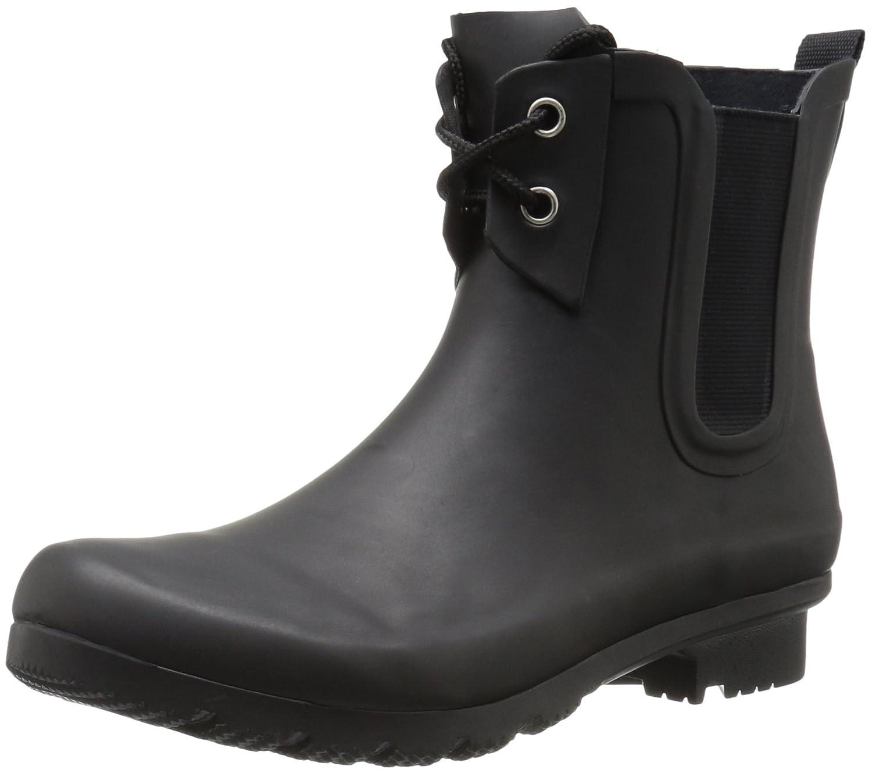 Roma Boots Women's Chelsea Lace-up Rain Boots B01L2WOCR6 9 B(M) US|Matte Black Lace