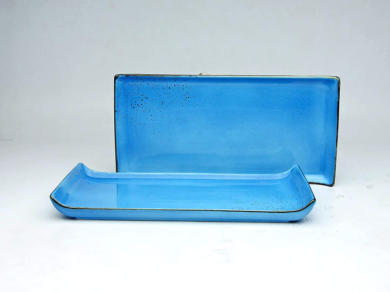 33 * 16,5 cm NATURE COLLECTION Gr/ün Steinzeug BBQ-Platte Vorspeisenplatte |Grillplatte GREEN