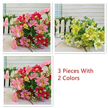 Amazon 3 Bunches Of Cineraria Artificial Flower Bouquet Home