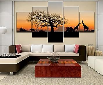 QFQH Farmework 5 Stück Leinwand Gemälde Afrikanische Savanne Tiere Cuadros  Landschaft Leinwand Wand Kunst Home Dekor