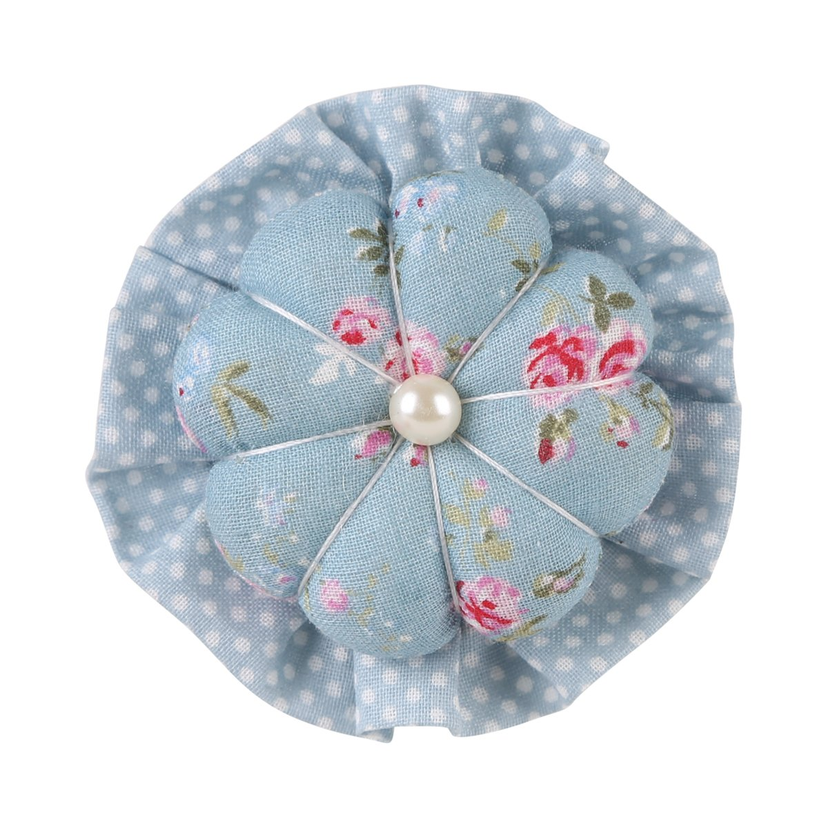 NEOVIVA Wrist Wearable Pincushions for Sewing and Quilting, Style Blossom, Pack of 2, Floral Blue Ocean
