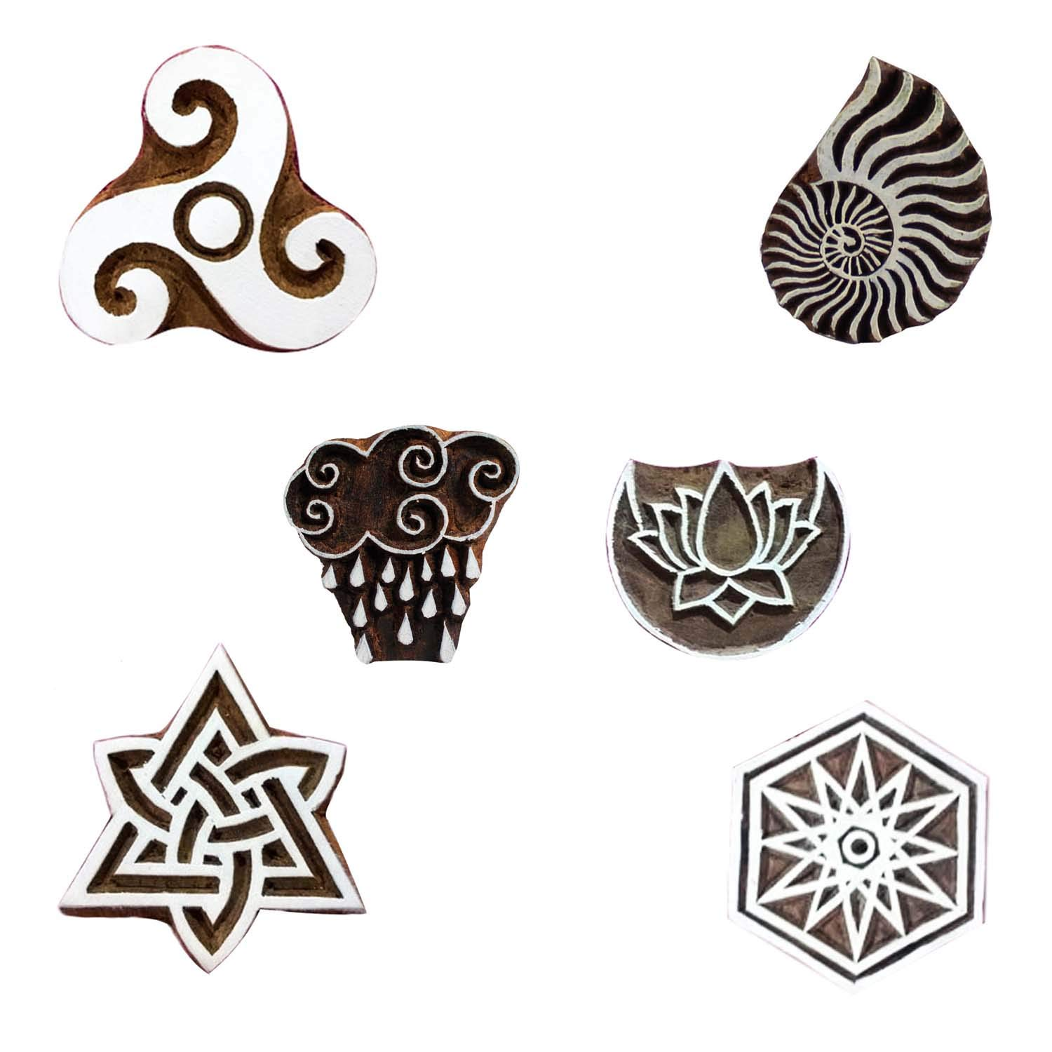 Wooden Printing Block Celtic, Sea Shell, Lotus On Moon Textile Stamp for Scrapbook Heena Tattoo Clay Pottery Set of 6 by CraftyArt