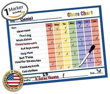 Dry Erase Kids Chore Chart   14.5u0026quot; X 11u0026quot;   Classroom Refrigerator  Home Teaching