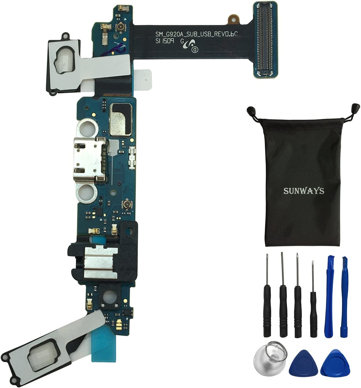 sunways Dock Charger Connector Micro USB Battery Charging Port Flex Cable for AT&T Samsung Galaxy S6 G920A Replacement with Device Opening Tools