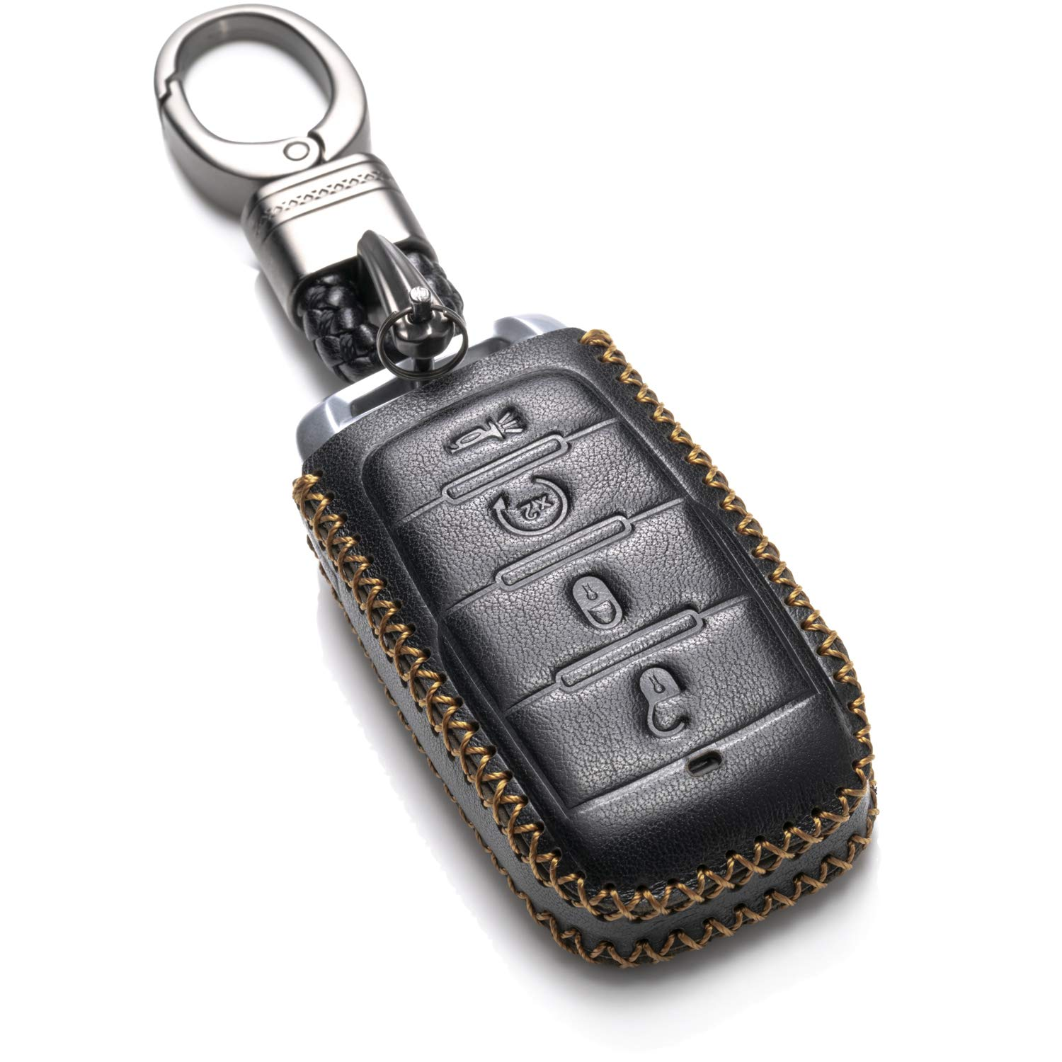 Vitodeco Genuine Leather Keyless Entry Remote Control Smart Key Case Cover with Leather Key Chain for 2019 RAM 1500 (4 Buttons, Brown) VITODECO INC