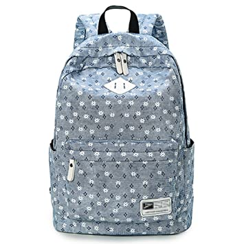 b22c298f26 Backpack Rucksack School Bags for Teenager Girls With Floral Pattern  (A-Linen Blue)