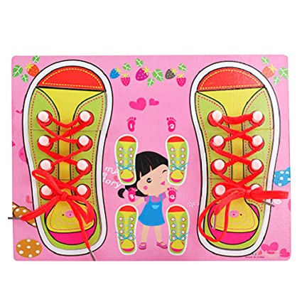 Amazoncom Cute Learn Tie Shoe Lace Toy Teaching Toy Wooden Puzzles
