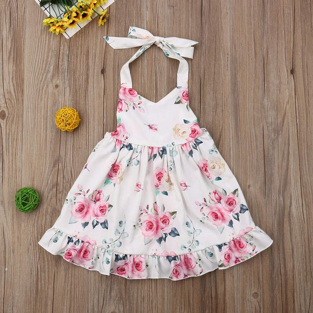 Baby Girl Vintage Floral Dress Summer Halter Sleeveless Backless Casual Sundress Princess Dress