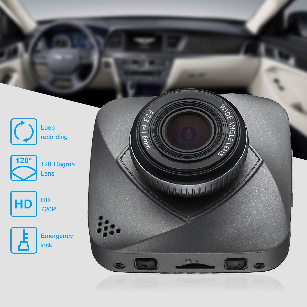 isYoung Car Dash Cam, 720P HD Dashboard Camera Recorder with Loop Recording, G-Sensor, 120 Degrees Degree Wide Angle View DVR Camera Video Recoder