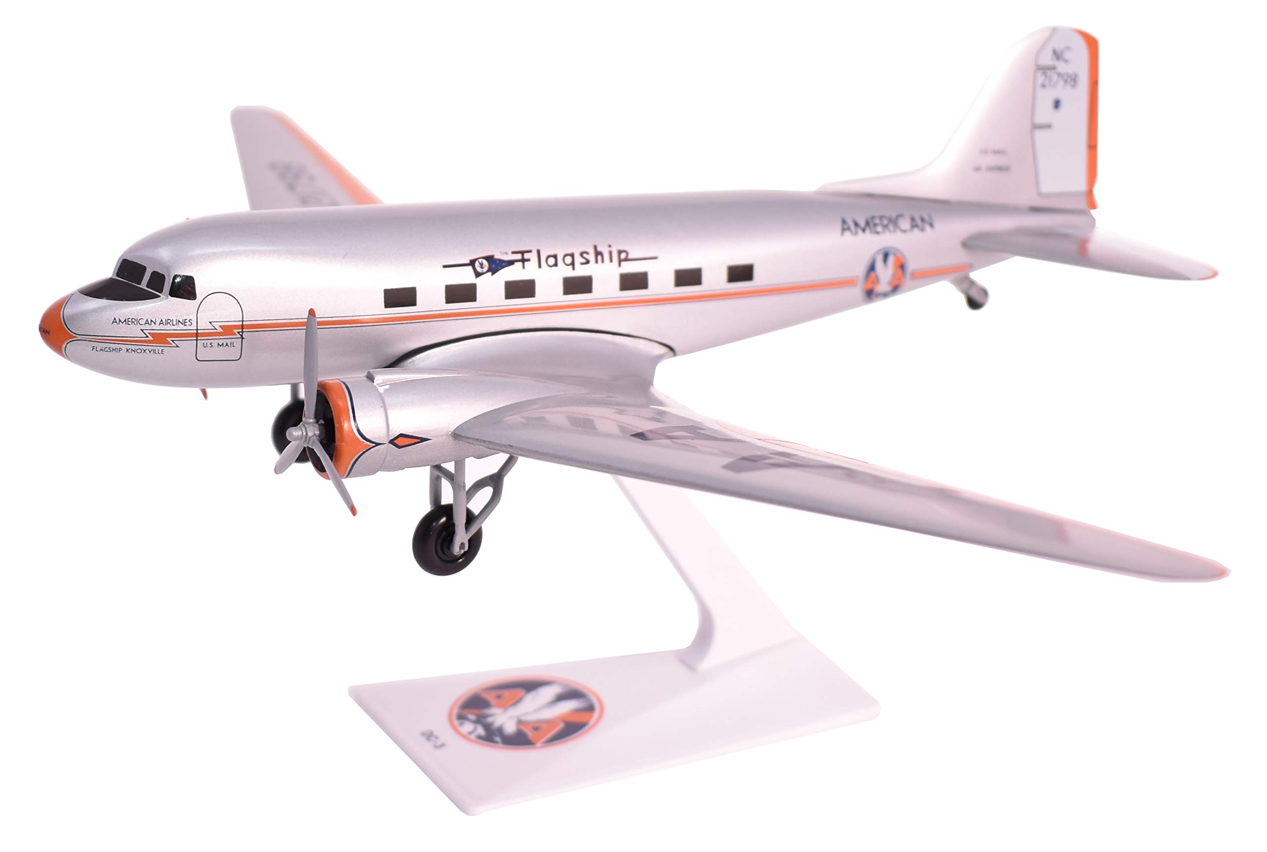 American Flagship Knoxville DC-3 Airplane Miniature Model Plastic Snap Fit 1:200 Part# ADC-00300C-004
