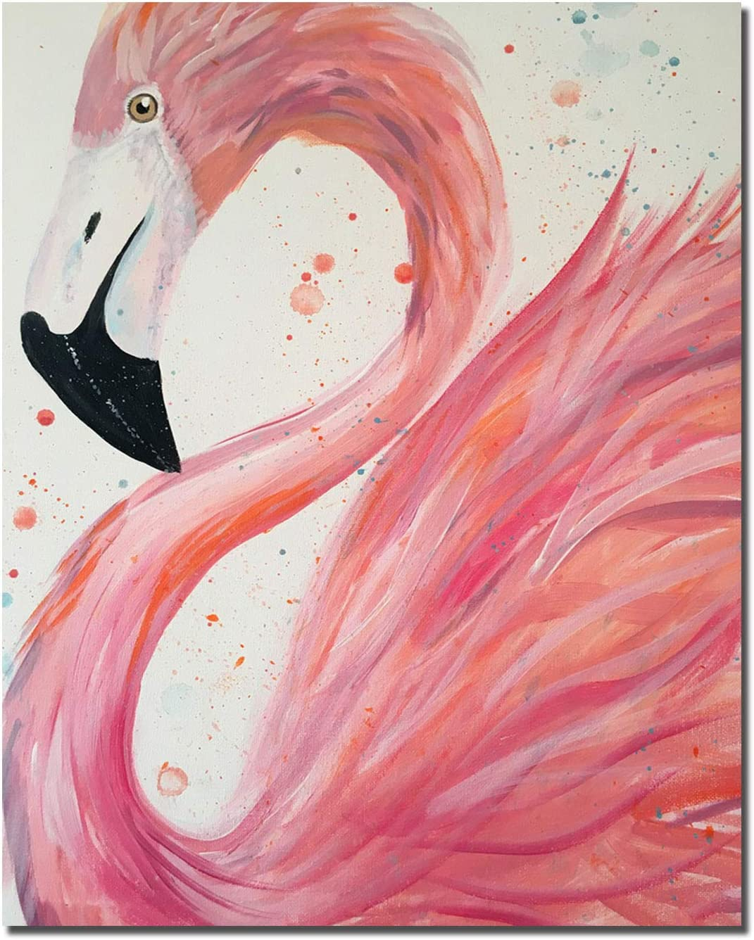 HVEST Flamingo Canvas Wall Art Pink Bird Framed Oil Painting Stretched and Framed Artsy Romantic Wall Paintings Girlfriend Gift for Living Room Bedroom Bathroom Office Wall Decor 12x16 inches