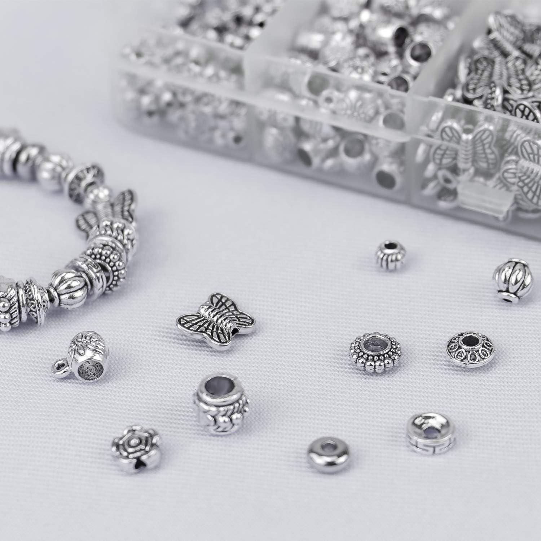 Dreamtop 500 piezas 10 estilo antiguo plata tibetana espaciador cuentas de plata colgantes colgantes joyer/ía hallazgos accesorios para pulsera collar joyer/ía fabricaci/ón y bricolaje manualidades