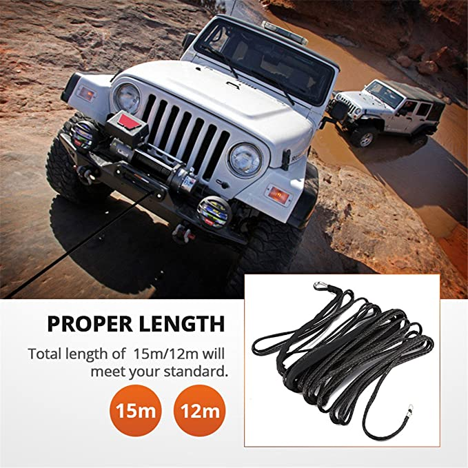 """3//16/"""" x 50/' 5800LBS Synthetic Winch Rope Black for most car SUV ATV Truck Boat"""