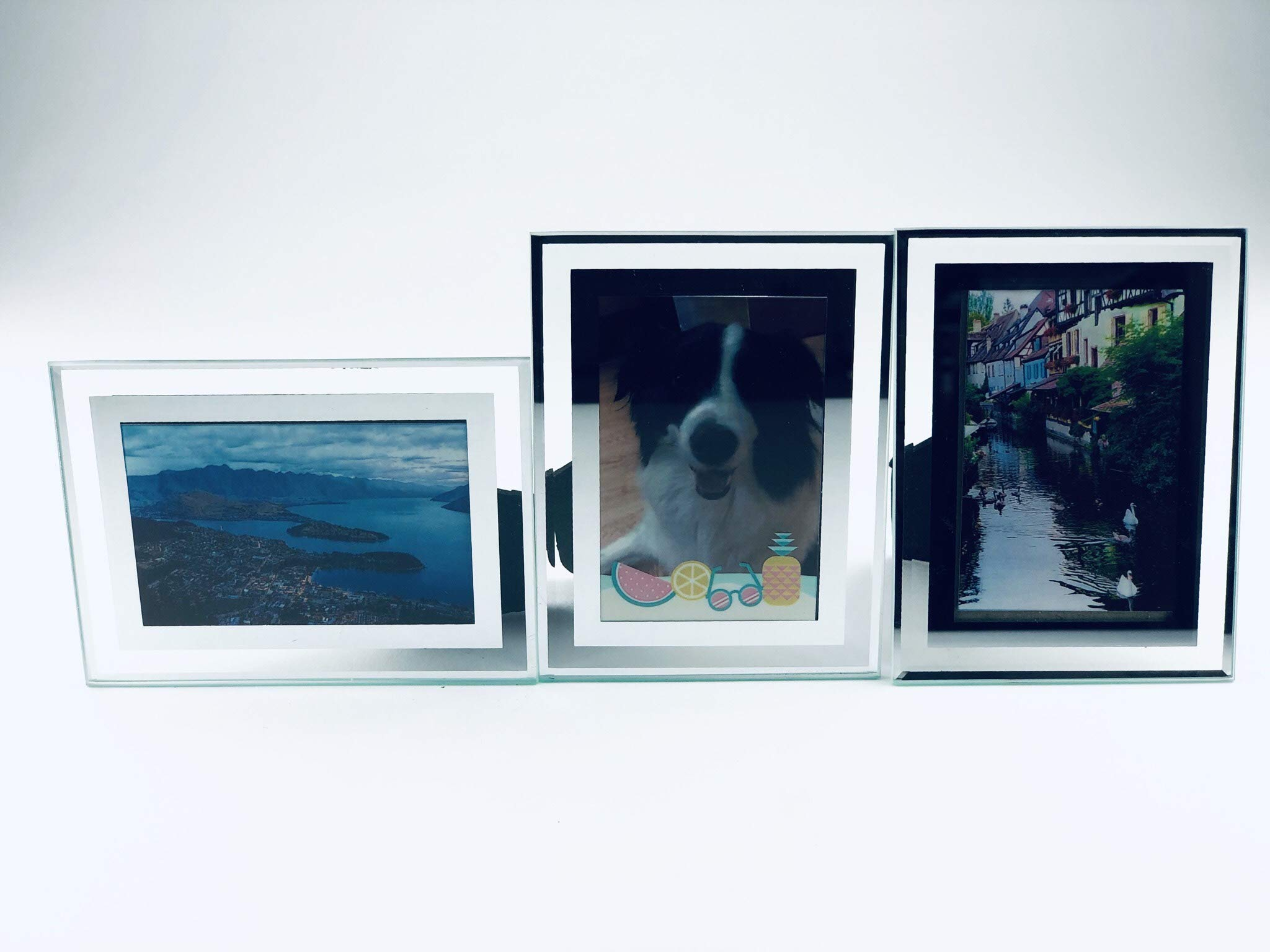 3pcs 3' Crystal Glass Picture Frame for HP Sprocket, Canon Ivy, Polaroid Zip Pocket,Kodak Instant Printer