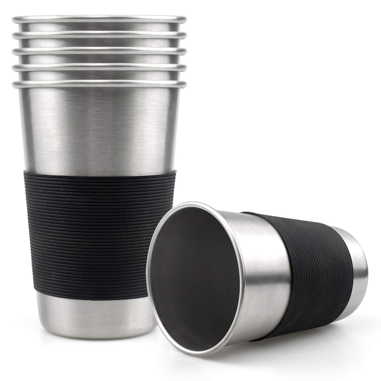 Tosnail - 15 oz vasos de pinta de vasos de agua de acero ...