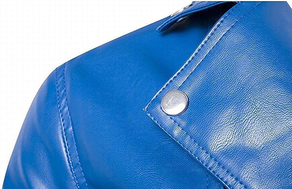 Rising ON Mens Trendy PU Leather Multi Zippers Biker Jackets Fashion