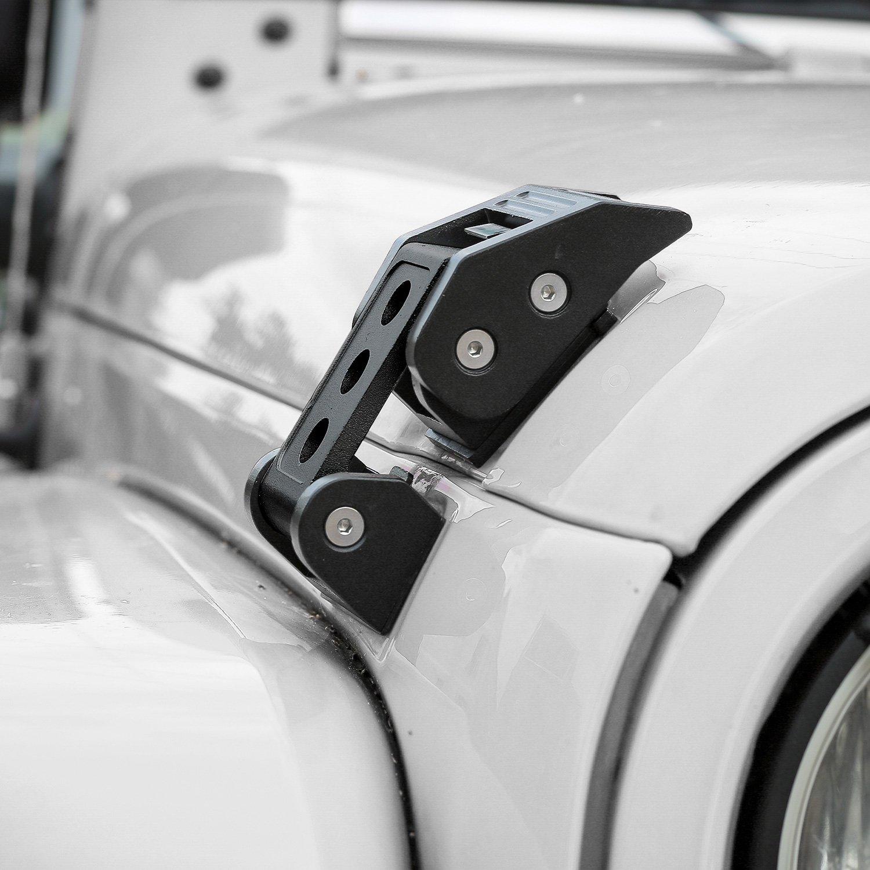 CheroCar Steel Hood Latches Hood Lock Catch Kit for 2007-2017 Jeep Wrangler JK JKU