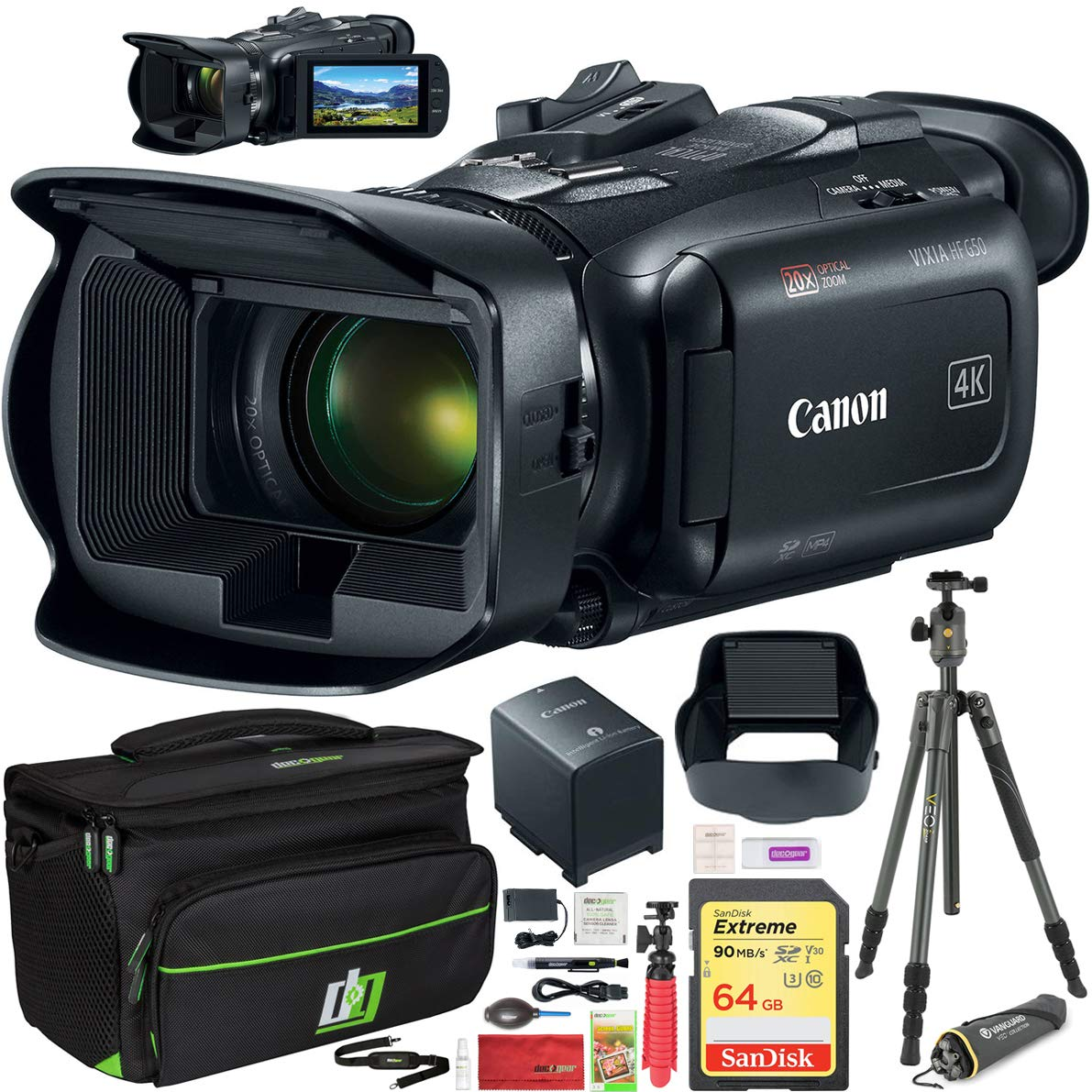 Canon Vixia HF G50 4K UHD Ultra HD Video Camcorder with 20x Optical Zoom Lens Includes Deco Gear Professional Camera Case and Vanguard VEO 2 204AB Tripod + Cleaning Kit Accessory Set Essential Bundle