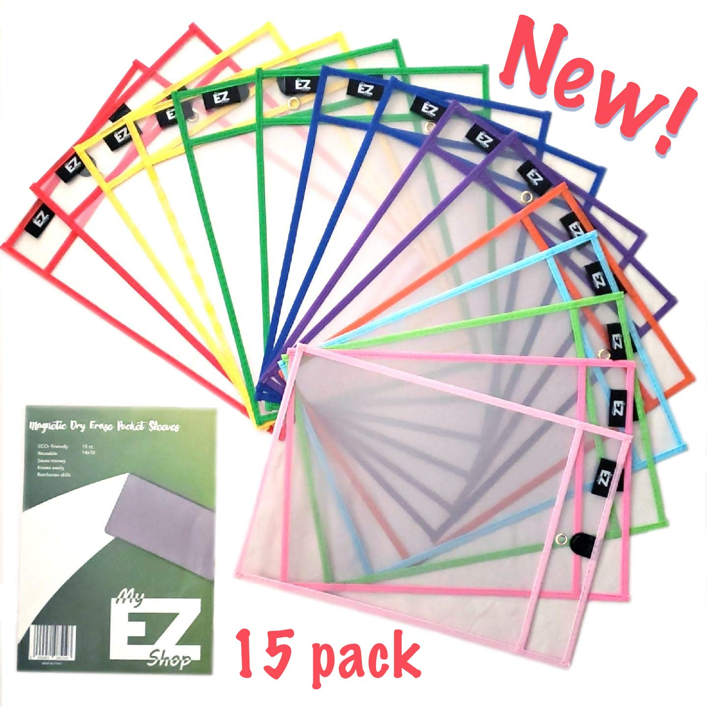 Magnetic Dry Erase Pocket Sleeves (15 Pack) by My EZ Shop- Reusable Erasable Sheet Protectors - Classroom, Business, and Home Organization. Write and Wipe - Eco Friendly- School Supplies by My EZ Shop