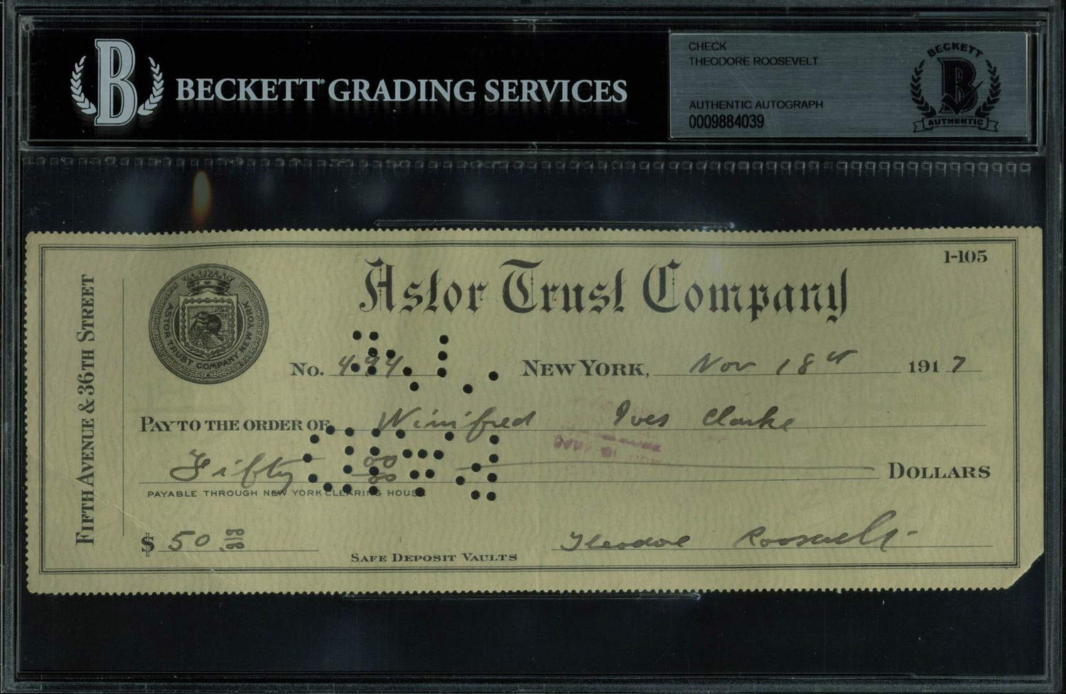 Theodore Roosevelt Authentic Autographed Signed 3X8.5 1917 Astor Trust Check Bas Slabbed