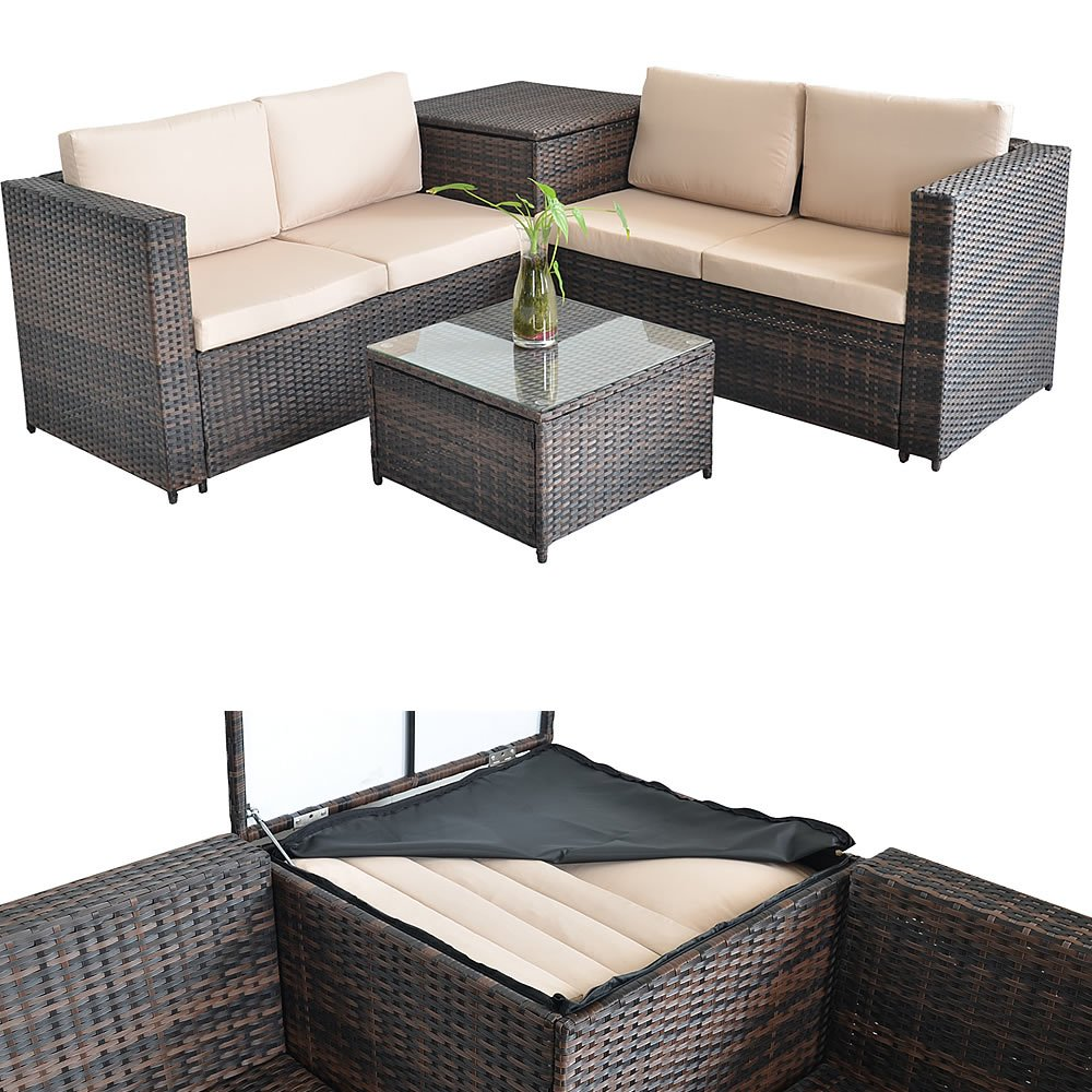 XXL Asiento Grupo Jardín ratán Lounge Juego Asiento ...