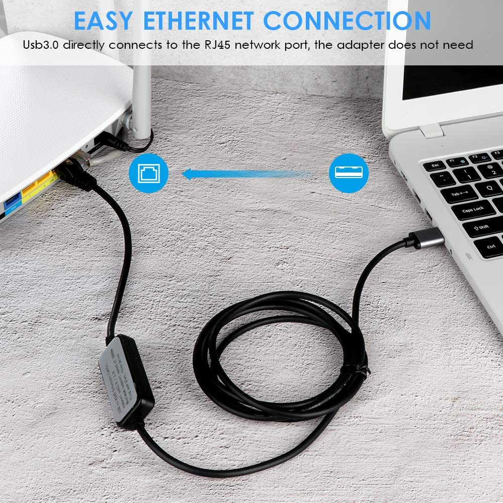 Linux Moyina USB3.0 to RJ45 Gigabit Ethernet Network Cable for Switch Chromebook,Surface Pro Modem with MacBook,Windows Router Gateway