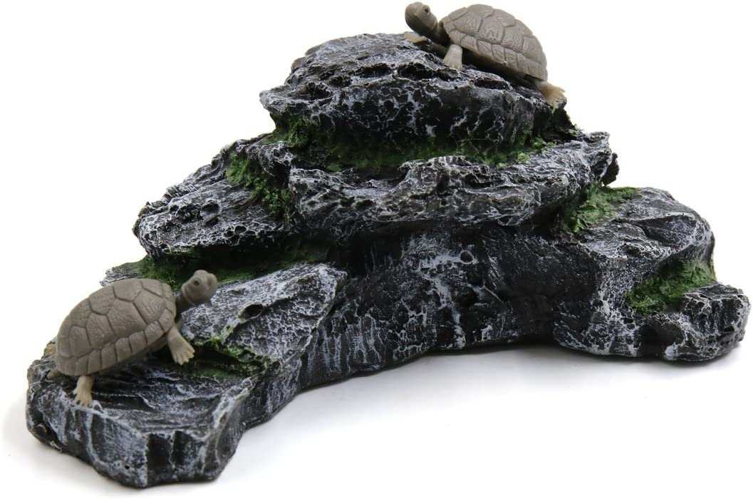 uxcell Resin Aquatic Turtles Climbing Rock Ramp Aquarium Fish Tank Landscape Decor