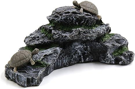 sourcing map Resina Tortugas Acuáticas Escalada En Roca Rampa Peces De Acuario Tanque Paisaje De La Decoración