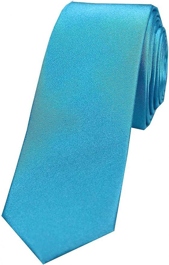 Corbata de seda y satén, lisa, color turquesa, marca Soprano ...