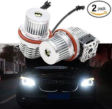 pack of 2 Angel Eyes Halo Ring Lights LED Marker Bulb Canbus Error Free 40W Cree 6500K White Fit for B-M-W E53//E61//E63//E64//E65//E66//E83//E87 Black