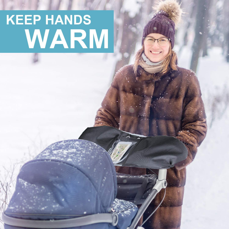 Radanh/änger Mture Handmuff Handschuhe mit Handytasche Warme Fingerw/ärmer mit Fleece Innenseite und Winter Winddicht Handabdeckung f/ür Kinderwagen,Buggy Schwarz Kinderwagen Handw/ärmer