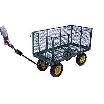 HOMCOM 5662 - 0008L Grande 4 Rueda Carretilla Carro Carro de jardín camión volcado camión volquete Remolque - Verde: Amazon.es: Jardín