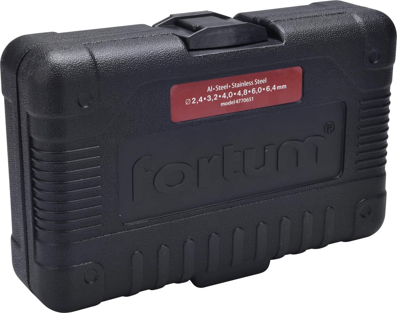 in alluminio Fortum 4770651 acciaio e acciaio INOX per rivetti ciechi da 2,4-6,4 mm Rialzo professionale per trapano o trapano a batteria 6 rivetti