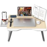 """Laptop Bed Table, AboveTEK 25.6""""x 19.29"""" Large Foldable Laptop Desk for Bed w/ Storage Drawer, Phone Holder, Book Tablet…"""